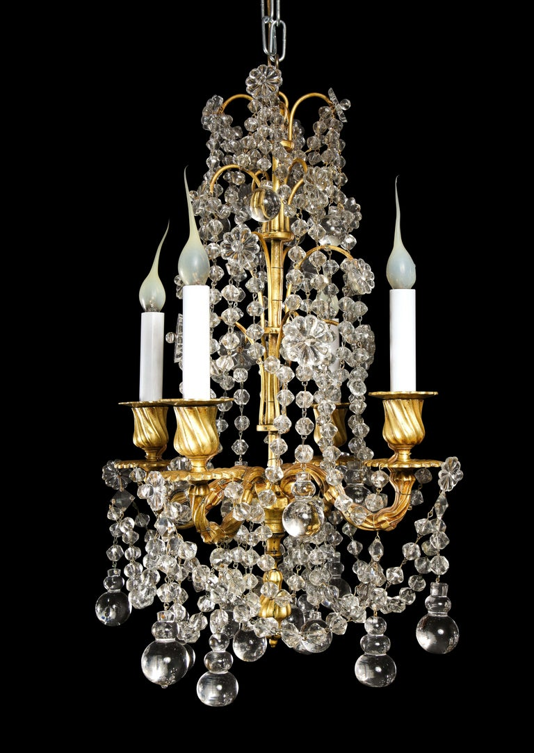 Pair of Small Antique French Louis XVI Gilt Bronze and Crystal Chandeliers In Good Condition For Sale In New York, NY
