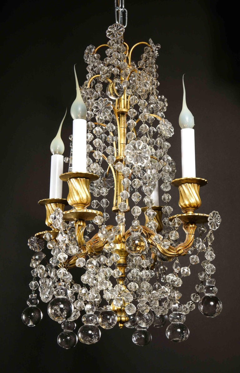 Pair of Small Antique French Louis XVI Gilt Bronze and Crystal Chandeliers For Sale 1