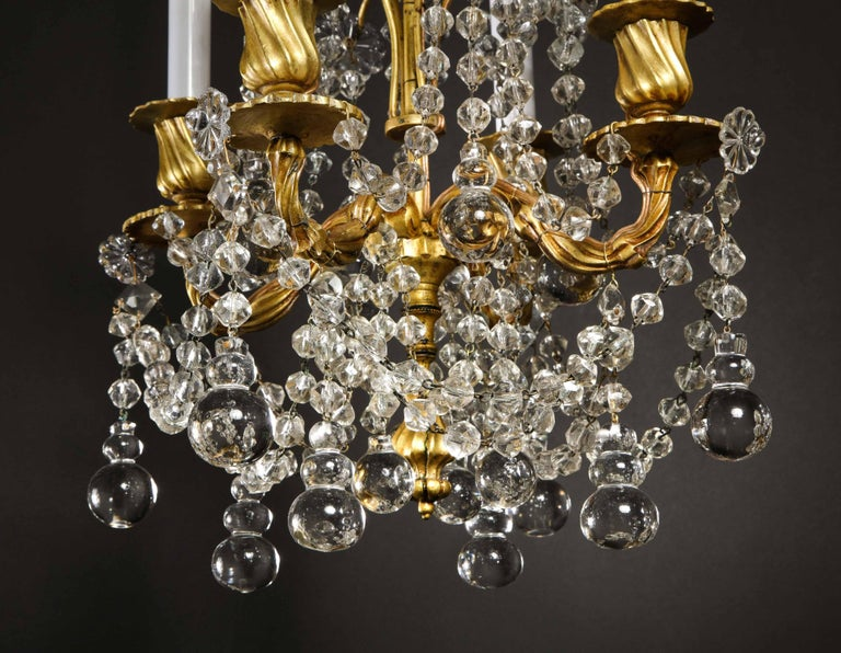 Pair of Small Antique French Louis XVI Gilt Bronze and Crystal Chandeliers For Sale 2