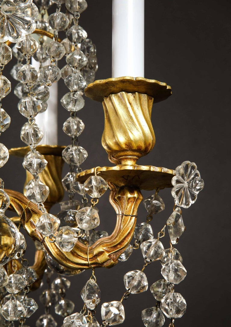 Pair of Small Antique French Louis XVI Gilt Bronze and Crystal Chandeliers For Sale 3