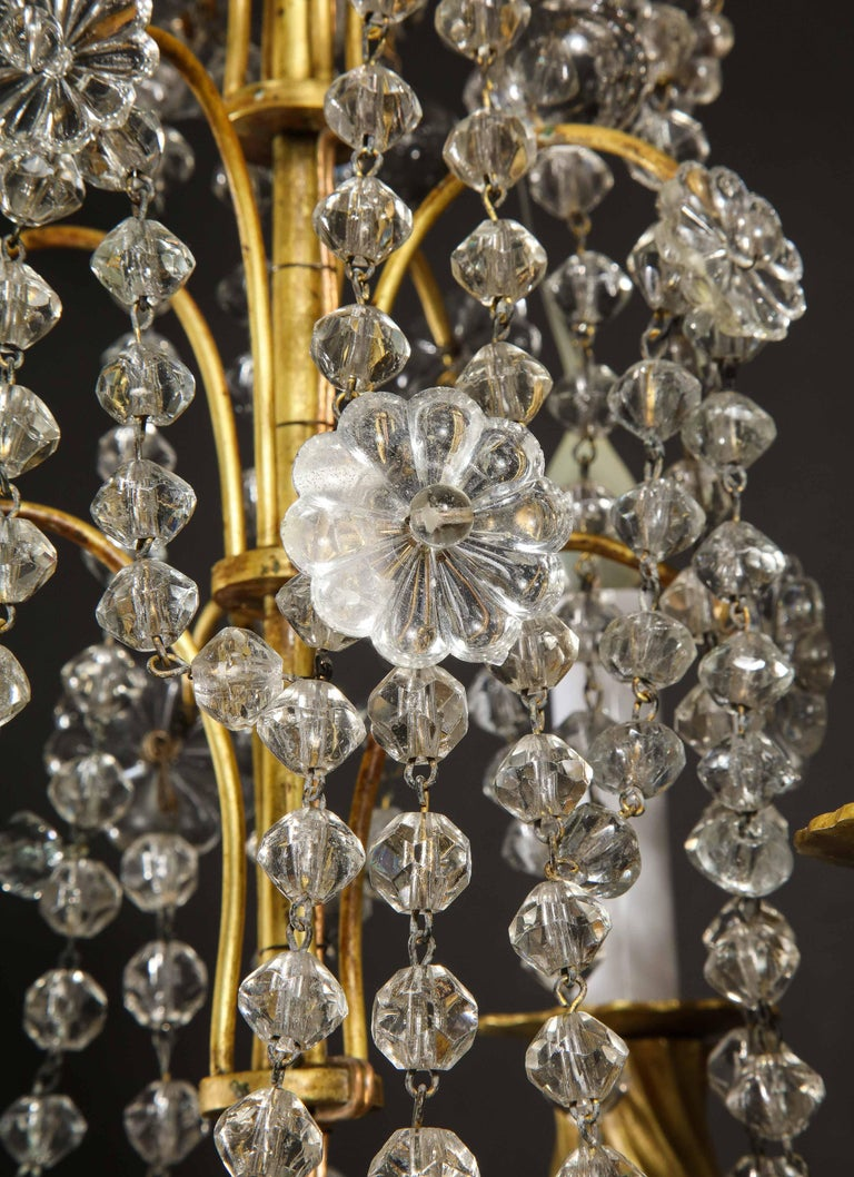 Pair of Small Antique French Louis XVI Gilt Bronze and Crystal Chandeliers For Sale 4