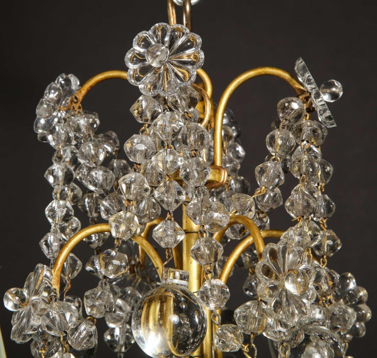 Pair of Small Antique French Louis XVI Gilt Bronze and Crystal Chandeliers For Sale 5