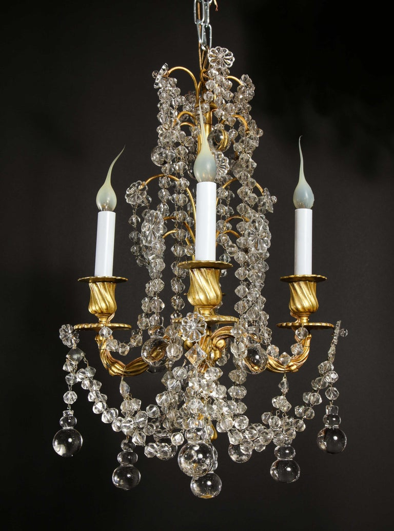 Pair of Small Antique French Louis XVI Gilt Bronze and Crystal Chandeliers For Sale 6