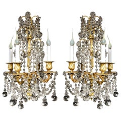 Pair of Small Antique French Louis XVI Gilt Bronze and Crystal Chandeliers