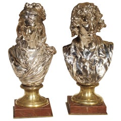 Pair of Small Antique French Silvered Bronze Busts on Marble Bases, circa 1890