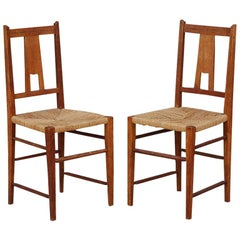 Pair of Small Arts & Crafts Oak Side Chairs