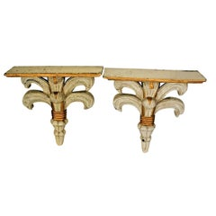 Pair of Small Baroque Console in Painted Wood, circa 1950-1960