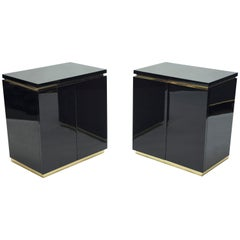 Pair of Small Black Lacquer Cabinets Nightstands by J.C. Mahey, 1970s