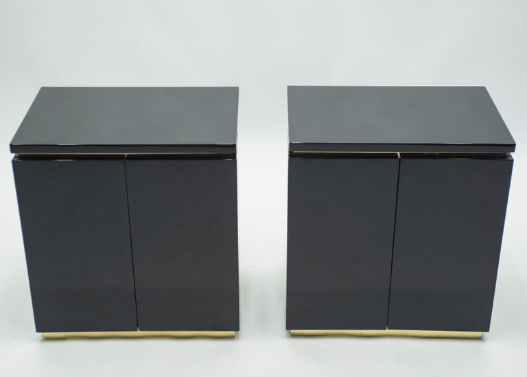 French Pair of Small Black Lacquer Cabinets Nightstands by J.C. Mahey, 1970s For Sale