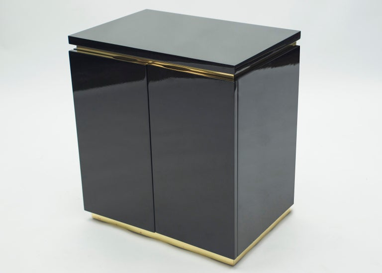 Late 20th Century Pair of Small Black Lacquer Cabinets Nightstands by J.C. Mahey, 1970s For Sale