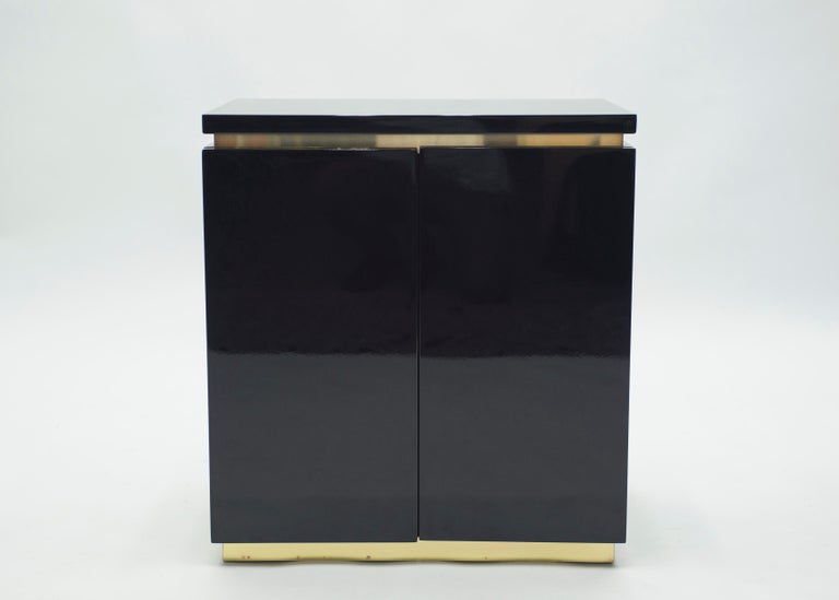 Pair of Small Black Lacquer Cabinets Nightstands by J.C. Mahey, 1970s For Sale 2