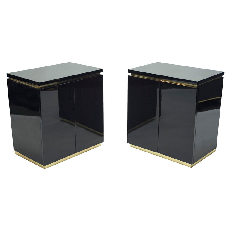 Pair of Small Black Lacquer Cabinets Nightstands by J.C. Mahey, 1970s For Sale