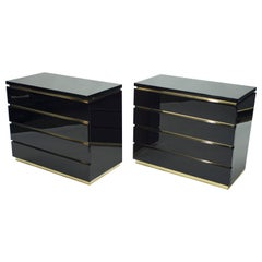 Pair of Small Black Lacquer Chest of Drawers by J.C. Mahey, 1970s