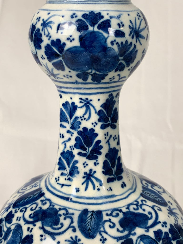 Pair of Small Blue and White Dutch Delft Vases Made, 18th Century circa 1760 For Sale 5