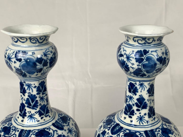 Pair of Small Blue and White Dutch Delft Vases Made, 18th Century circa 1760 For Sale 6