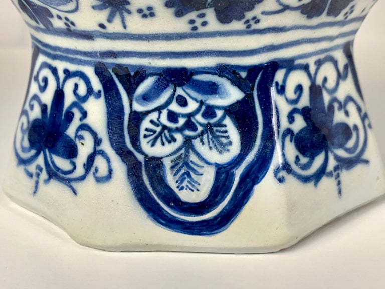 Pair of Small Blue and White Dutch Delft Vases Made, 18th Century circa 1760 For Sale 7