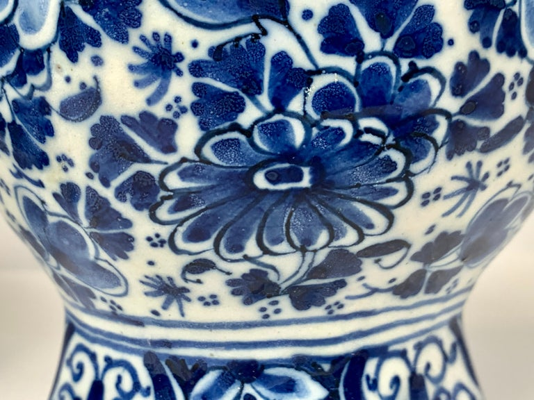 Pair of Small Blue and White Dutch Delft Vases Made, 18th Century circa 1760 For Sale 2