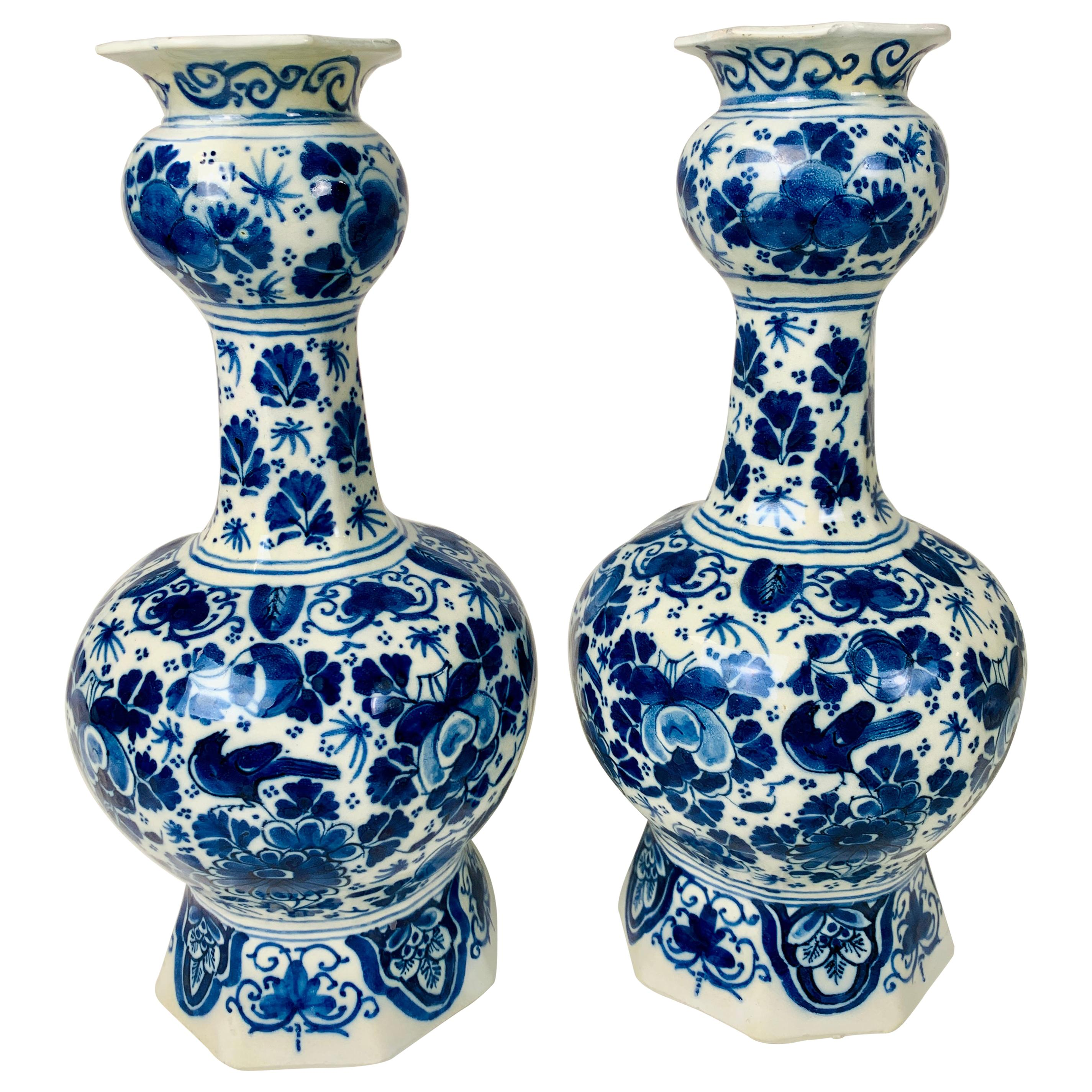 Pair of Small Blue and White Dutch Delft Vases Made, 18th Century circa 1760