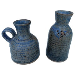 Pair of Small Blue Ceramic Decanters