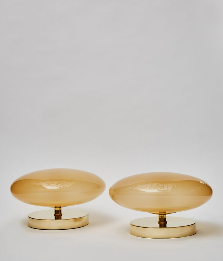 Modern Pair of Small Brass and Glass Table Lamps For Sale