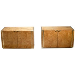Pair of Small Burl and Brass Cabinets by J.C. Mahey, 1970s