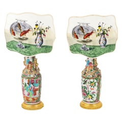 Pair of Small Canton Porcelain Lamps with Screens, circa 1880
