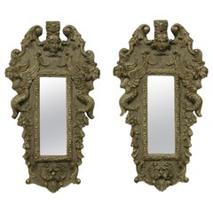 Pair of Small Carved and Painted Venetian Mirrors