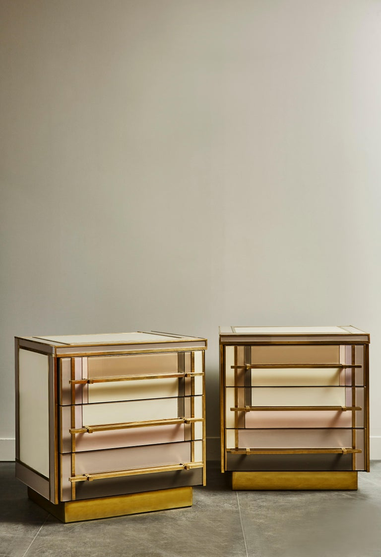 Pair of little vintage chests, restored and customized with brass and tainted glass. 3 drawers. Italy, 1970s. Creation by Studio Glustin.