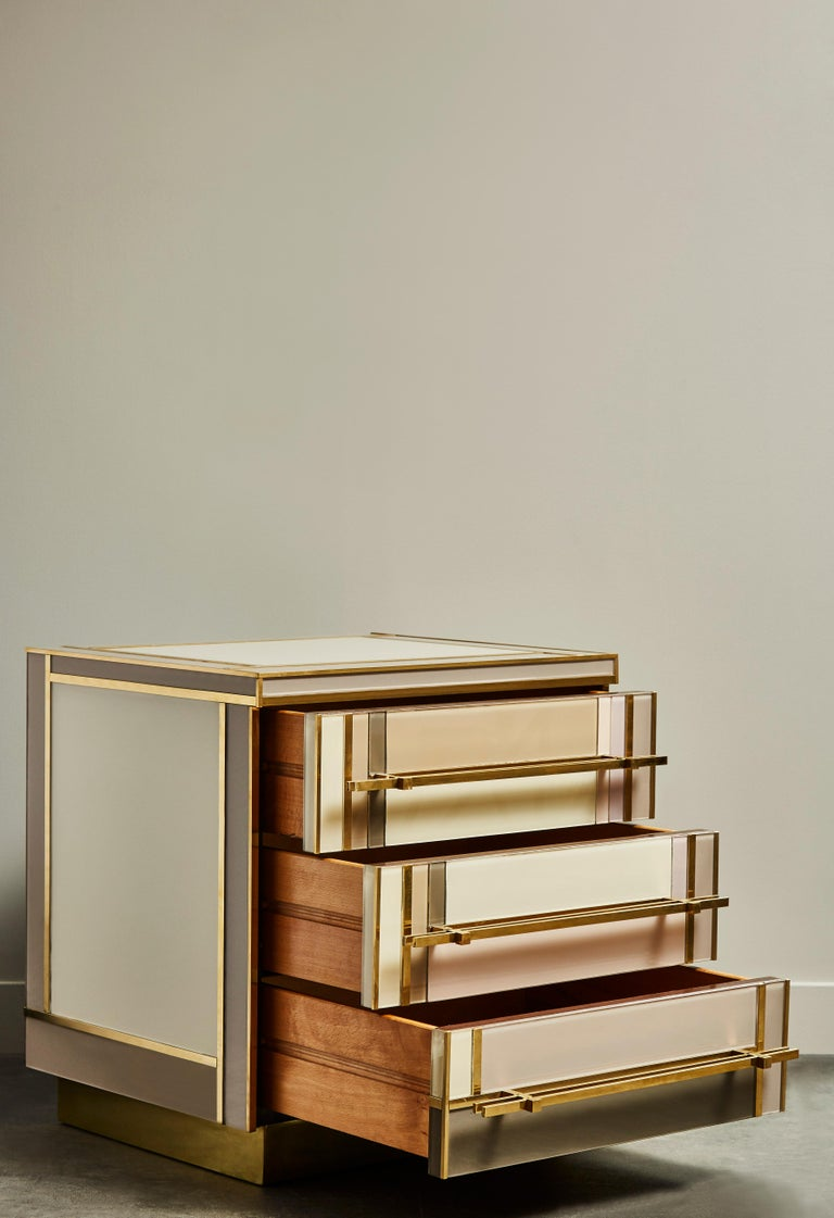 European Pair of Small Chests in Mirror by Studio Glustin For Sale