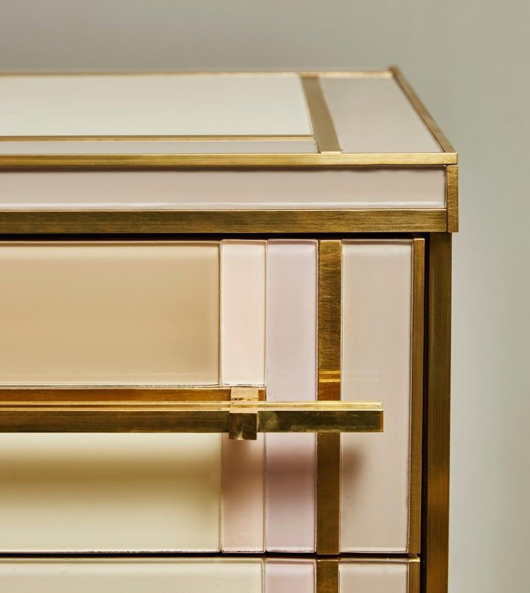Brass Pair of Small Chests in Mirror by Studio Glustin For Sale