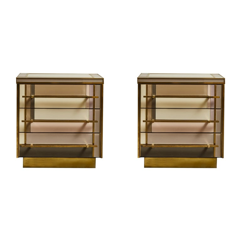 Pair of Small Chests in Mirror by Studio Glustin For Sale