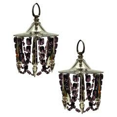 Pair of Small Cut Glass Ceiling Lights with Amethyst Glass