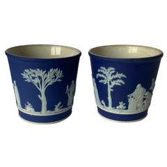Pair of Small Dark Blue Jasperware Wedgwood Vases
