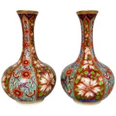 Pair of Small Derby Bottle Vases, Kakiemon Pattern, 1800-1825