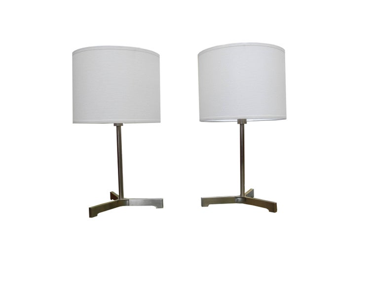 Pair Of Small Desk Lamps In Brushed Chromed Steel By Nessen Lighting