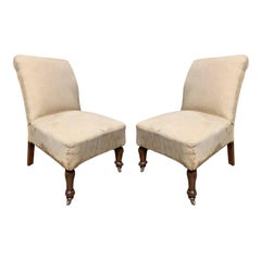 Pair of Small Early 20th Century English Slipper Chairs, circa 1900