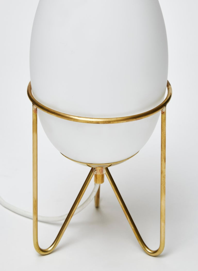 Italian Pair of Small Eggs Looking Table Lamps with Brass Feet For Sale