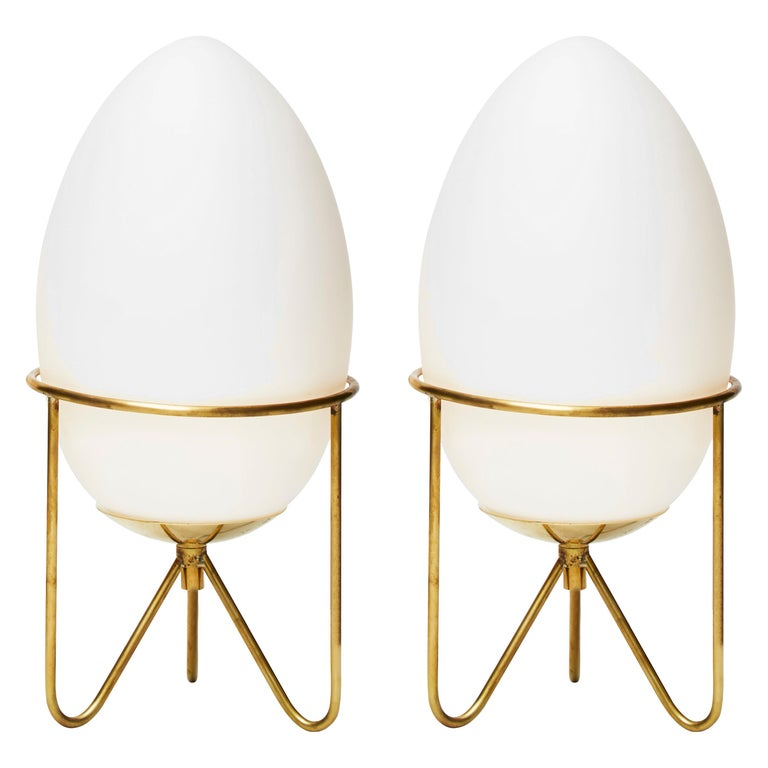 Pair of Small Eggs Looking Table Lamps with Brass Feet For Sale