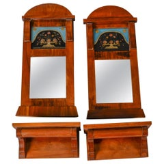 Pair of Small Empire Revival Mirrors and Consoles