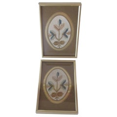 Pair of Small Framed Vintage Turkish Embroidered Textiles