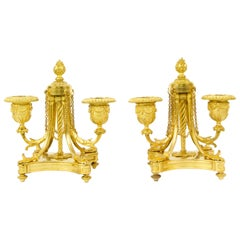 Pair of Small French 19th Century Louis XVI Gilt Bronze Two-Light Candelabra
