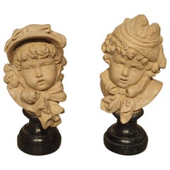 Pair of Small French Terracotta Busts