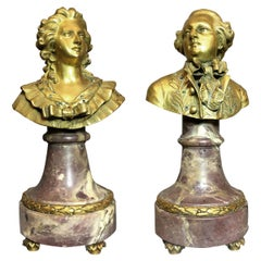 Pair of Small Gilt-Bronze Figural Busts
