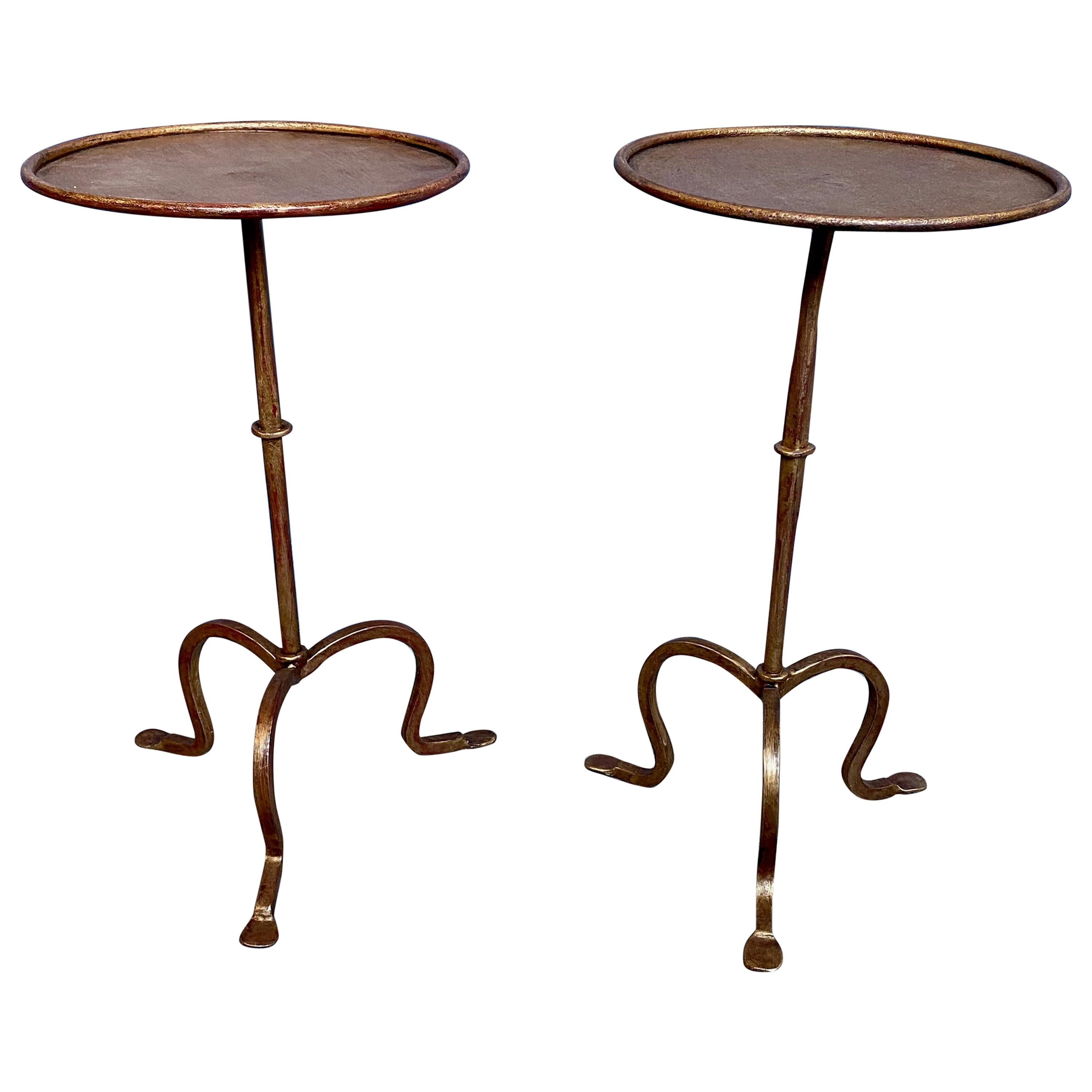Pair of Small Gilt Iron Martini or End Tables