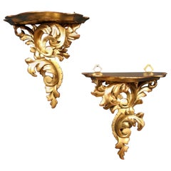 Pair of Small Giltwood Scroll Shaped Shelves