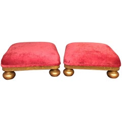 Pair of Small Giltwood Victorian Period Foot Stools