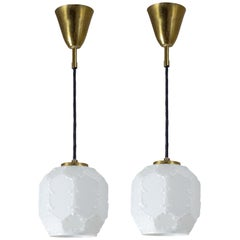 Pair of Small Glass Pendants, 1960s