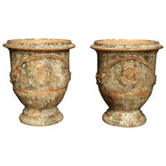 Pair of Small Glazed Terracotta Anduze Pots from France