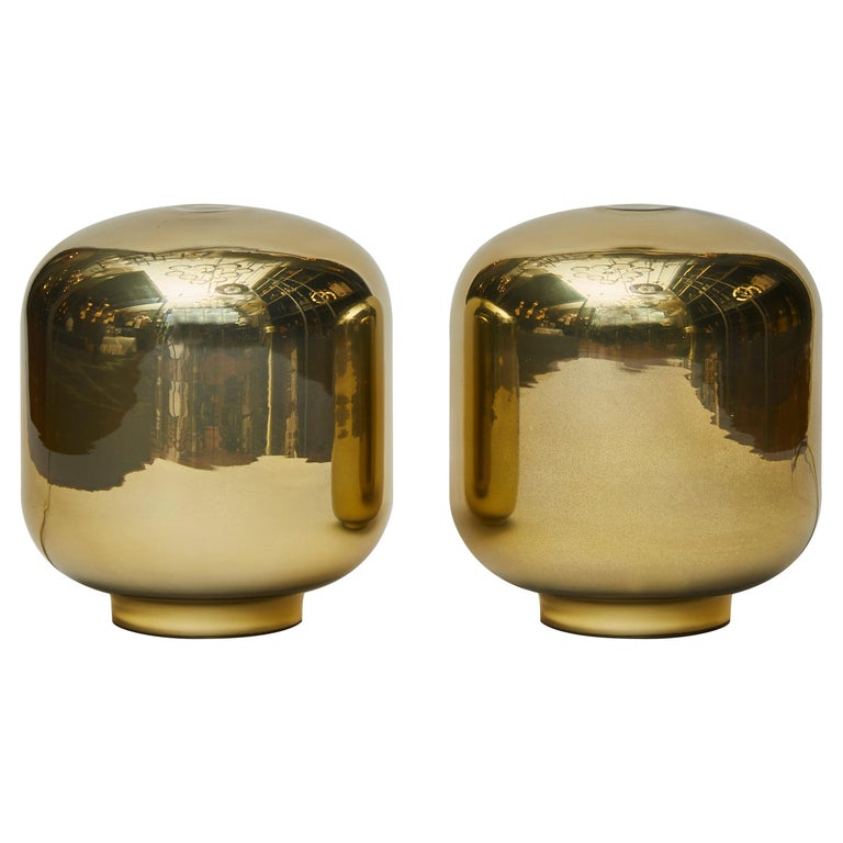 Pair of Small Gold Glass Table Lamps For Sale