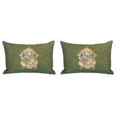 Pair of Small Green Cotton Ganesh Pillow with Silver Sequins